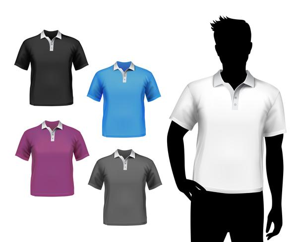 Conjunto de pólo masculino de t-shirts vetor