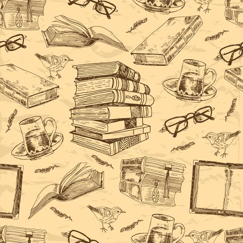 Padrão sem emenda de livros antigos vetor
