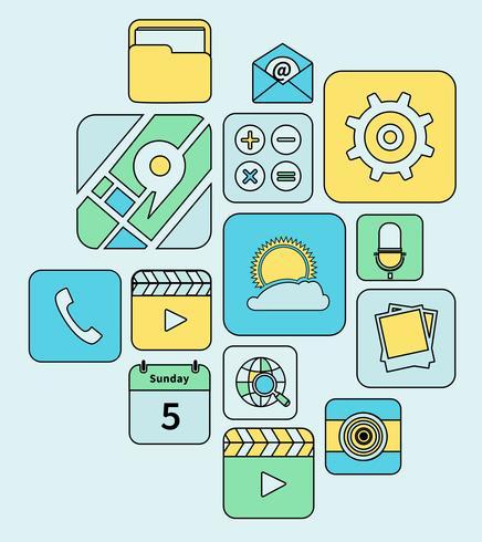 Linha plana de ícones de aplicativos móveis vetor