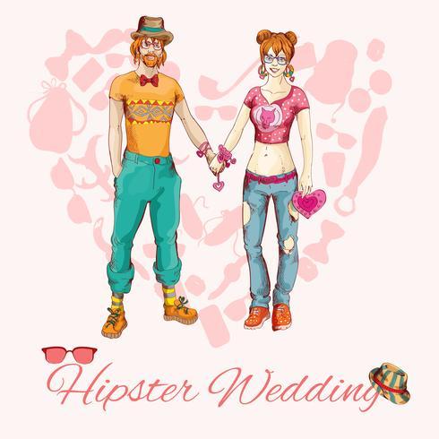 Cartão de casamento moderno vetor