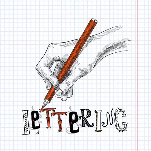 Mão, desenho, papel vetor
