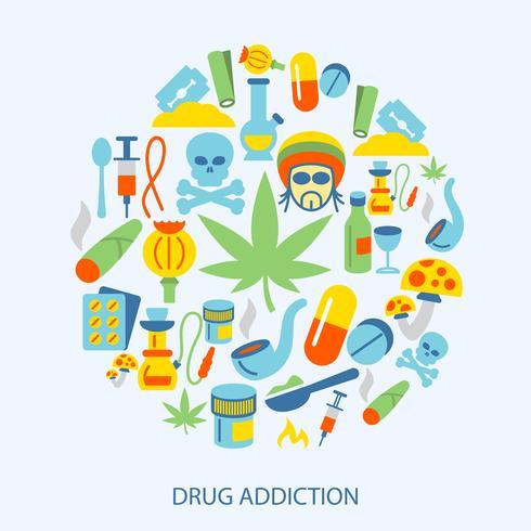 Ícones de drogas planas vetor