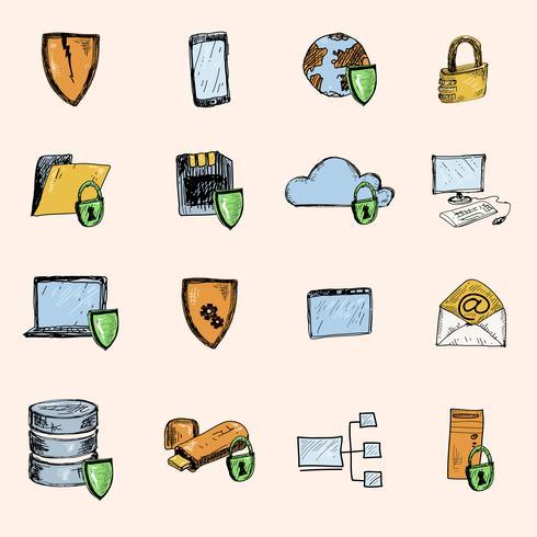 Ícones de esboço de proteção de dados coloridos vetor