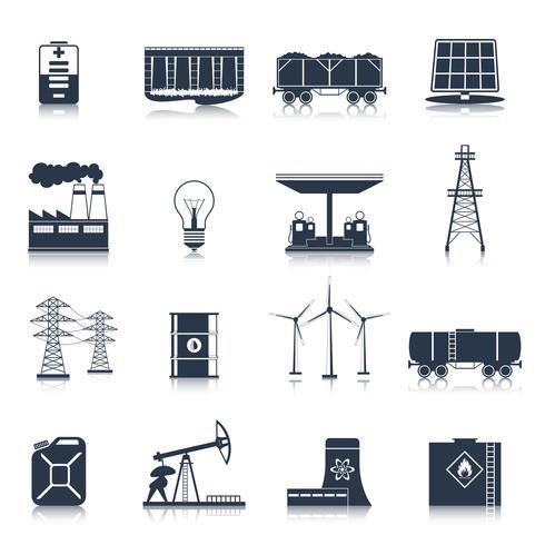 Conjunto de ícones pretos de energia vetor
