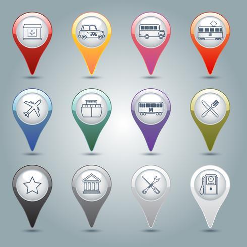 Conjunto de marcadores de GPS vetor