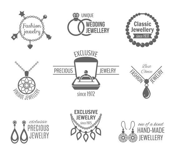 Conjunto de etiquetas de joias vetor
