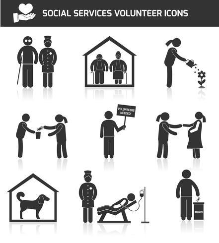 Ícones de serviços sociais conjunto preto vetor