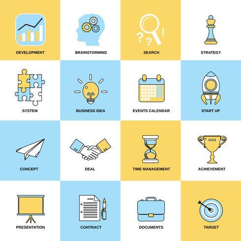 Conjunto de linha plana de ícones de negócios vetor