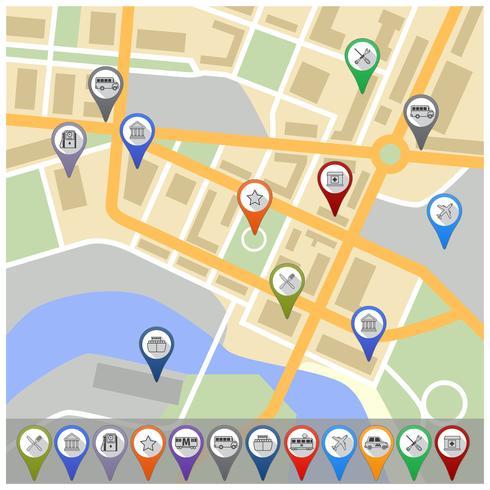 Mapa, com, gps, ícones vetor
