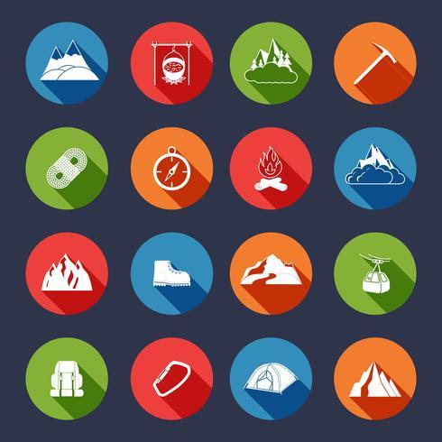 Montanha, ícones, apartamento vetor