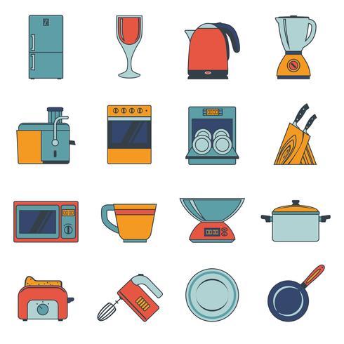 Ícones de aparelhos de cozinha planas vetor