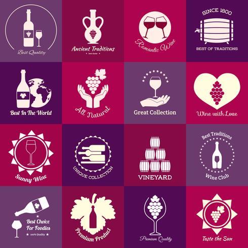 Conjunto de emblemas de vinho vetor