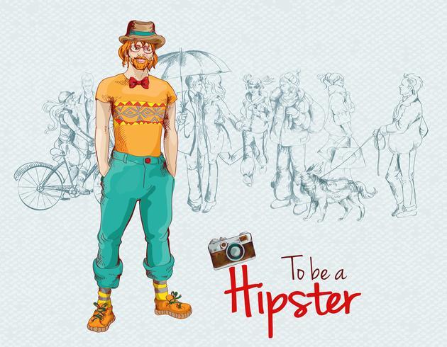 Multidão de rapaz hippie vetor