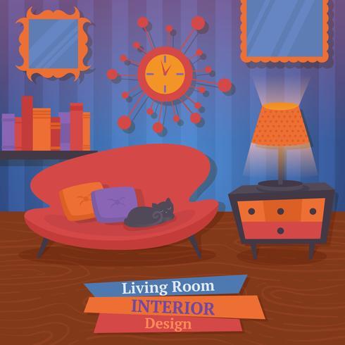 Sofá de design de interiores vetor