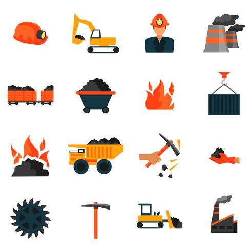 Ícones da indústria de carvão vetor