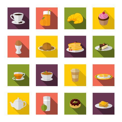 Ícones de café da manhã plana vetor