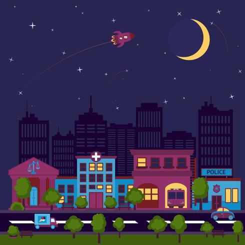 Cidade scape noite fundo vetor