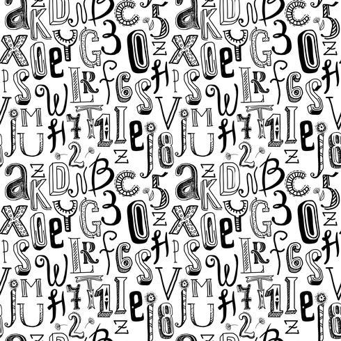 Alfabeto sem costura preto vetor