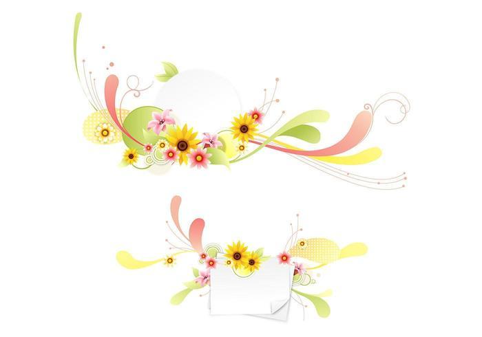 Swirly pacote de vetores florais