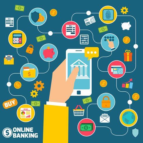 Conceito de banca on-line vetor