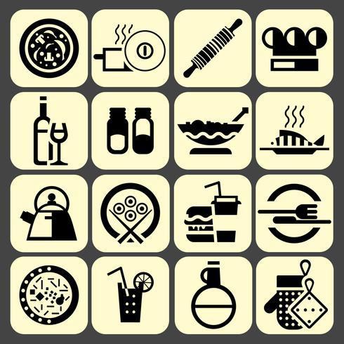 Cozinhar ícones de comida conjunto preto vetor