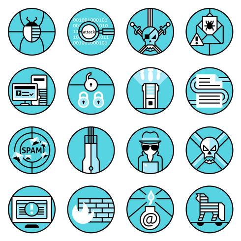 Conjunto de ícones de hacker linha azul vetor