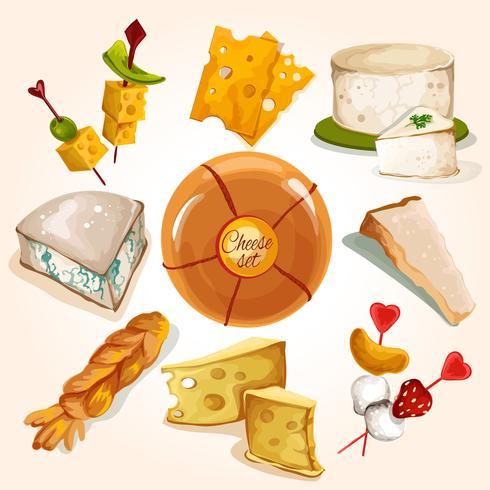 Coleção de desenho de queijo vetor