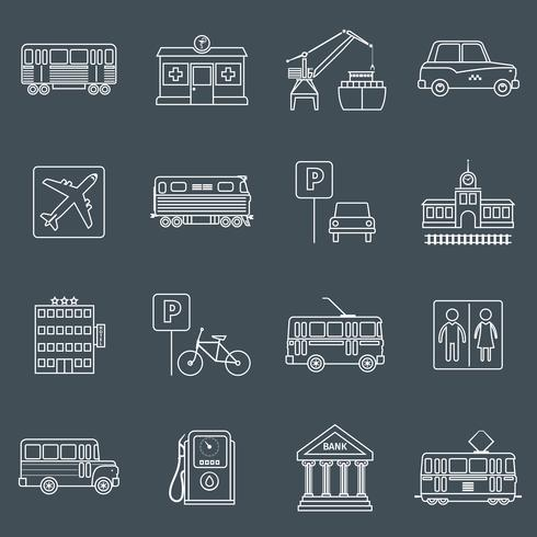 Contorno de ícones de infra-estrutura de cidade vetor