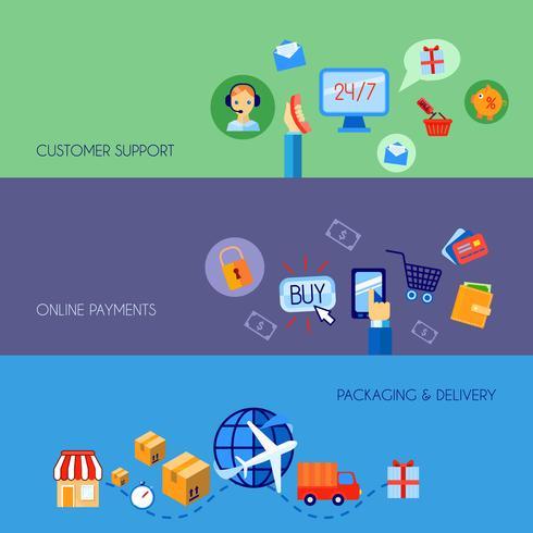 Banner de compras e-commerce definido plano vetor