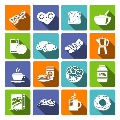 Café da manhã, ícone, apartamento vetor