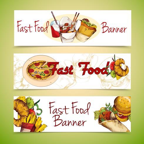 Banners de fast food vetor