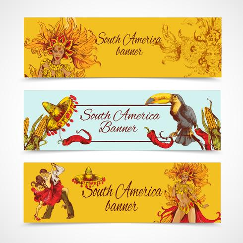 Conjunto de bandeiras da América do Sul vetor