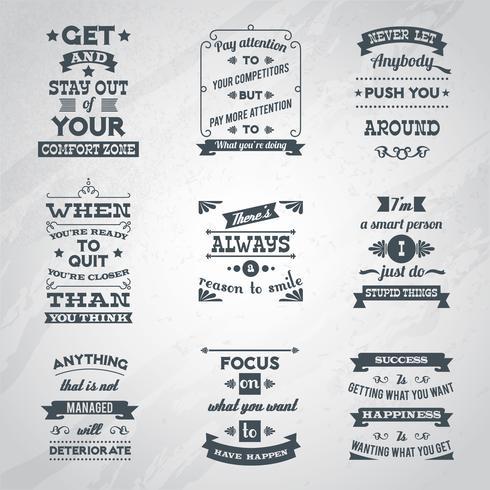 Conjunto de citações de sucesso vetor