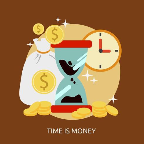 Tempo é dinheiro ilustração conceitual Design vetor
