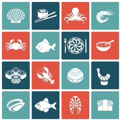 Conjunto de ícones de frutos do mar plana vetor