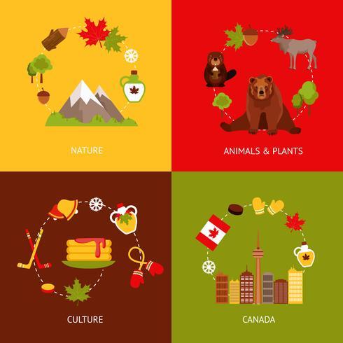 Conjunto de ícones plana do Canadá vetor