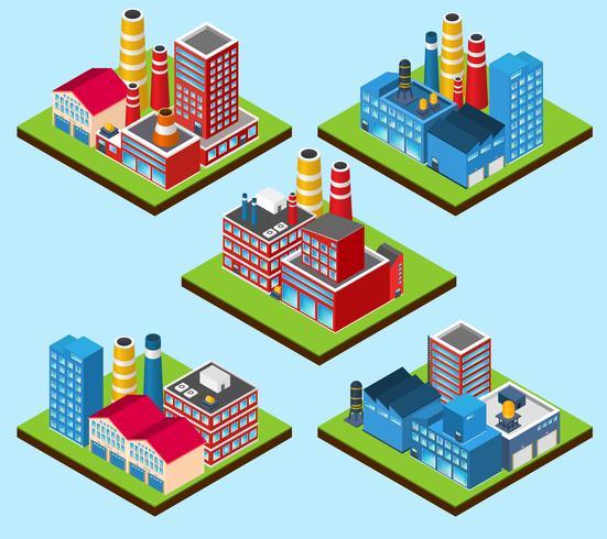 Edifícios Industriais Isométricos vetor