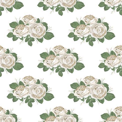 Padrão sem emenda floral retrô. Rosas em fundo branco. Ilustração vetorial vetor