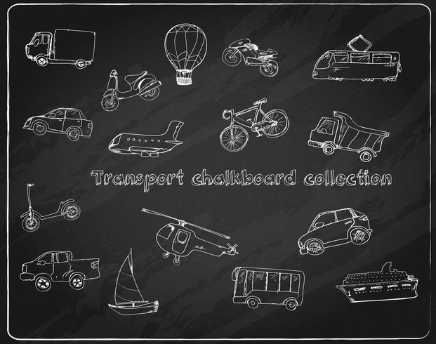 Transporte doodle conjunto lousa vetor