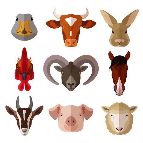 Conjunto de ícones plana de retrato de animal de estimação vetor