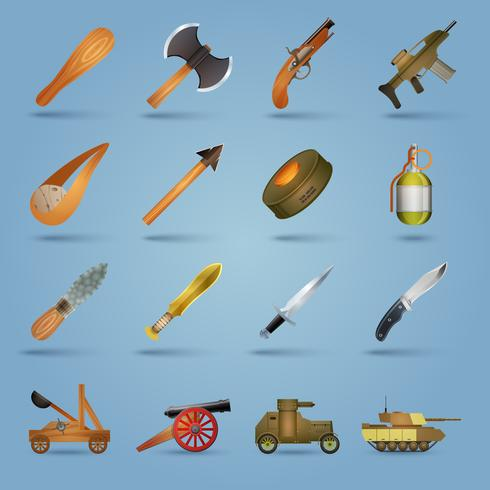 Conjunto de ícones de arma vetor