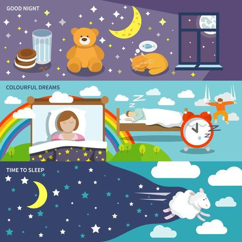 Banners de tempo de sono vetor