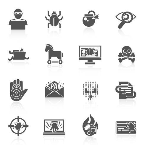 Conjunto de ícones pretos de hacker vetor