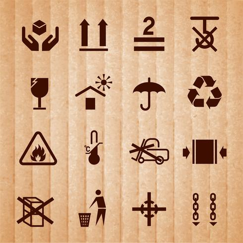 Manuseando e embalando símbolos vetor