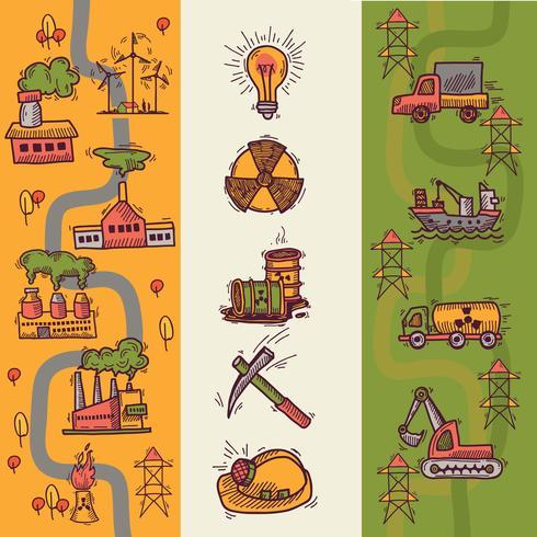 Banners de desenho industrial vetor