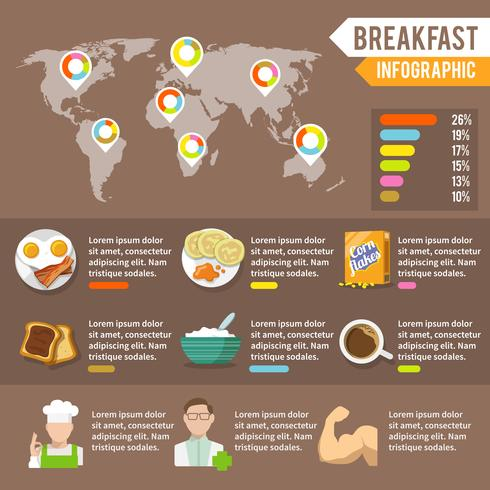 Conjunto de infográfico de pequeno-almoço vetor