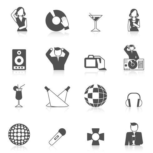 Conjunto de ícones de boate vetor