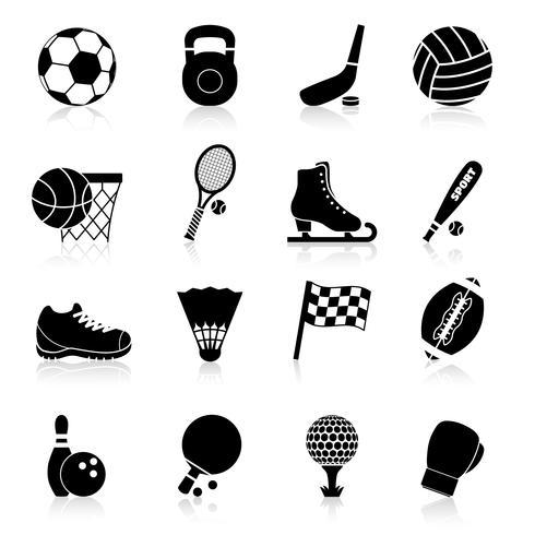 Ícones do esporte preto vetor