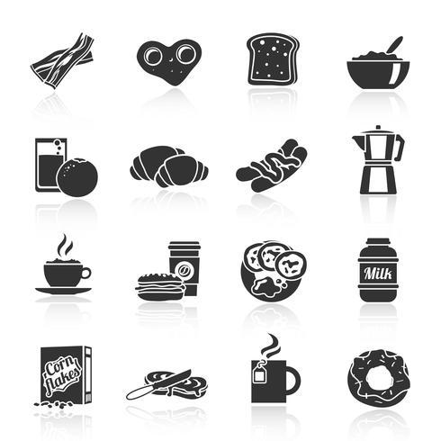 Café da manhã ícone preto vetor