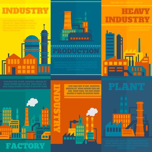 Conjunto de cartazes da indústria vetor